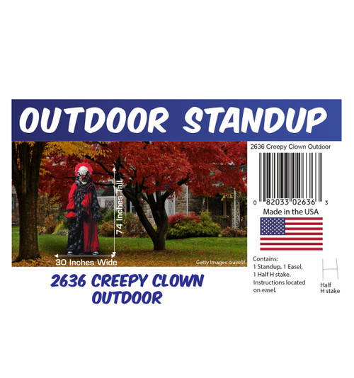 Creepy Clown outdoor standee with setting, dimensions, UPC and list of items included.