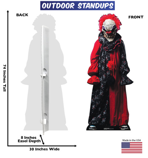 Creepy Clown outdoor standee with front and back dimensions.
