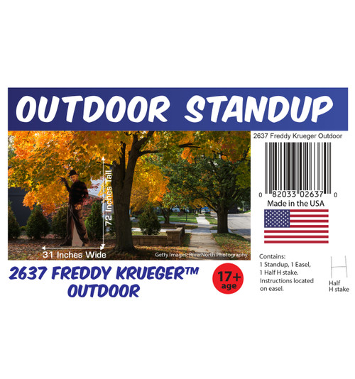 Freddy Krueger outdoor standee with setting, dimensions, UPC and list of items included.