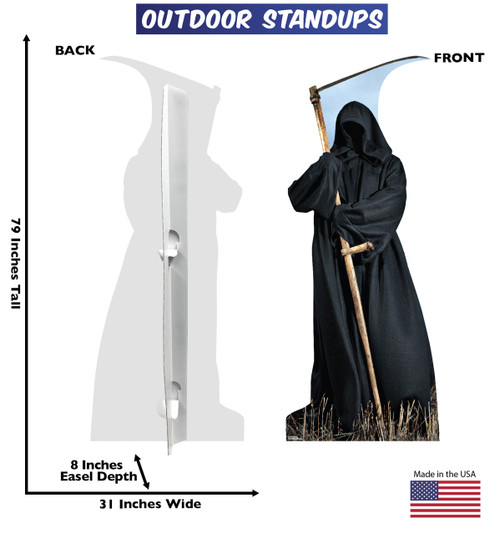 Grim Reaper outdoor standee with back and front dimensions.