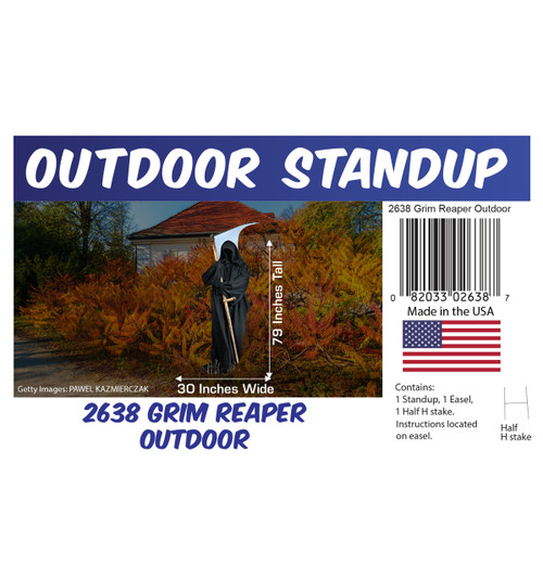 Grim Reaper outdoor standee with setting, dimensions, UPC and list of items included.