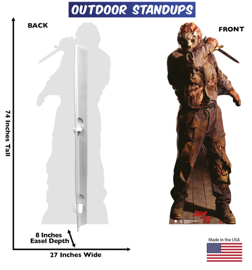 Jason Voorhees outdoor standee with back and front dimensions.