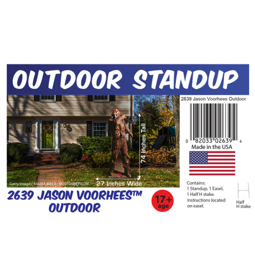 Jason Voorhees outdoor standee with setting, dimensions, UPC and list of items included.