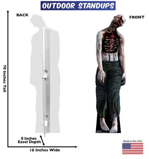 Zombie Man outdoor standee with setting with back and front dimensions.