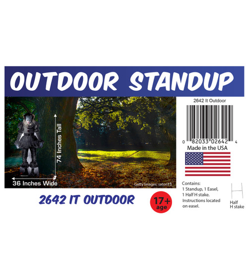 """Pennywise """"IT"""" outdoor standee with setting, dimensions, UPC and list of items included."""
