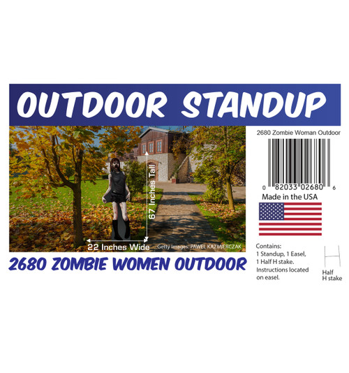 Zombie Woman outdoor standee with setting, dimensions, UPC and list of items included.