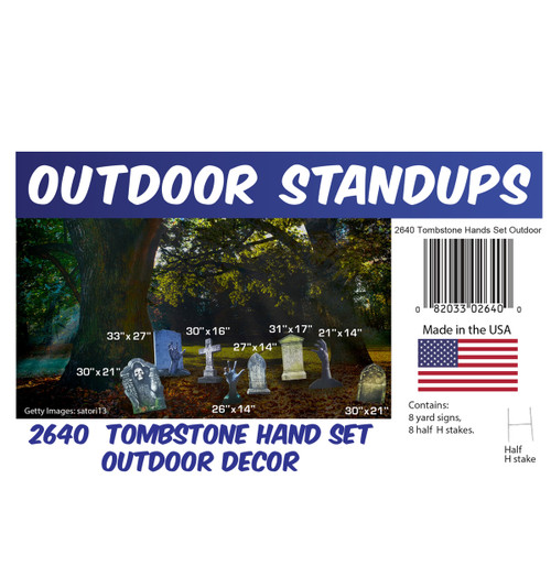 Tombstone and Hands Set Outdoor Decor with setting, dimensions and list of items included.