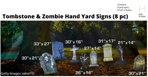 Tombstone and Zombie Hands Yard Signs (8 Pc)