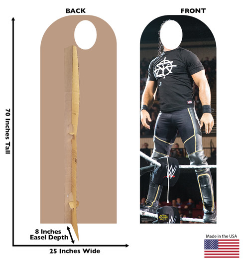 Seth Rollins life-size cardboard standin front and back with dimensions.