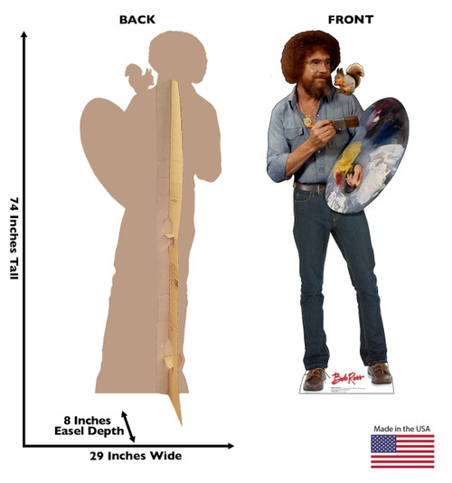 Bob Ross and Friend Cardboard Standee front and back with dimensions.