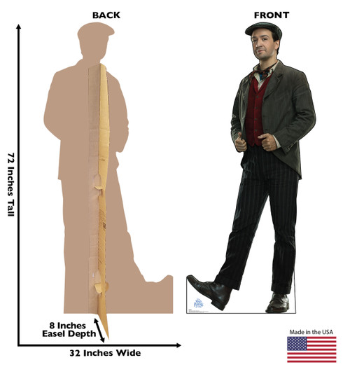 Jack Cardboard Standee front and back with dimensions.