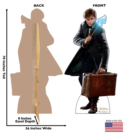 Newt Scamander Lifes-size Cardboard Standee Front and Back with Dimensions.