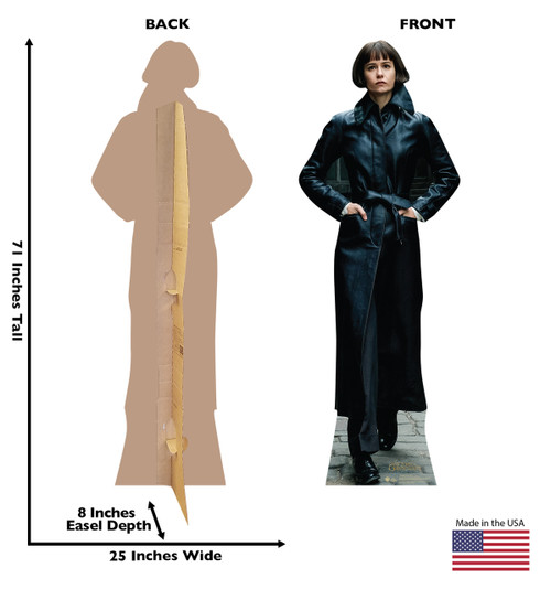 Porpentina Goldstein Lifes-size Cardboard Standee Front and Back with Dimensions.