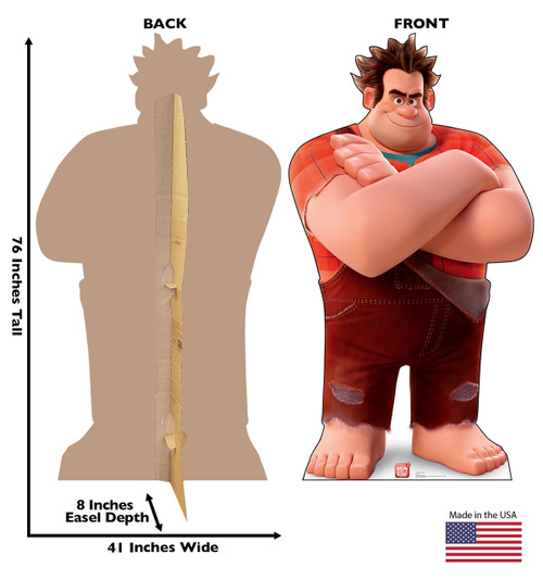 Life-size cardboard standee of Ralph from Wreck-It-Ralph 2 with back and front dimensions.
