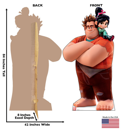 Life-size cardboard standee of Vanellope and Ralph from Wreck-It-Ralph 2 with back and front dimensions.