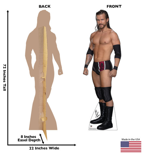 Adam Cole Life-size cardboard standee front and back with dimensions.