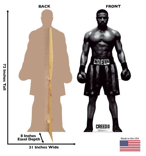 Life-size cardboard standee of Adonis Creed from Creed II. Front and back view with dimensions.