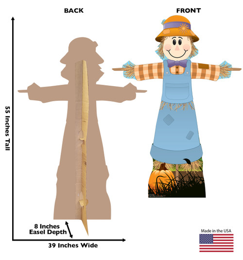 Life-size cardboard standee of Scarecrow Female. View of back and front of standee with dimensions.