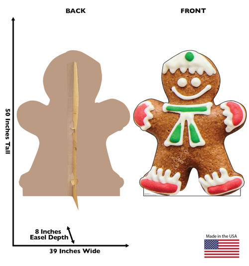 Life-size cardboard standee of Gingerbread Man Cookie. View of back and front of standee with dimensions.