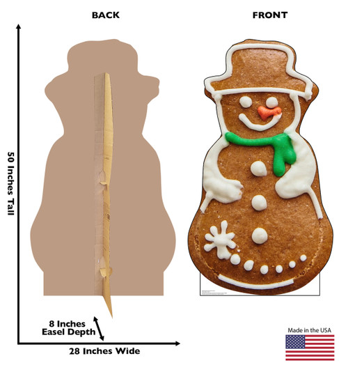 Life-size cardboard standee of Gingerbread Snowman Cookie. View of back and front of standee with dimensions.