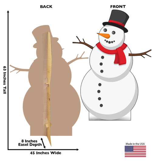 Life-size cardboard standee of Illustrated Snowman. View of back and front of standee with dimensions.
