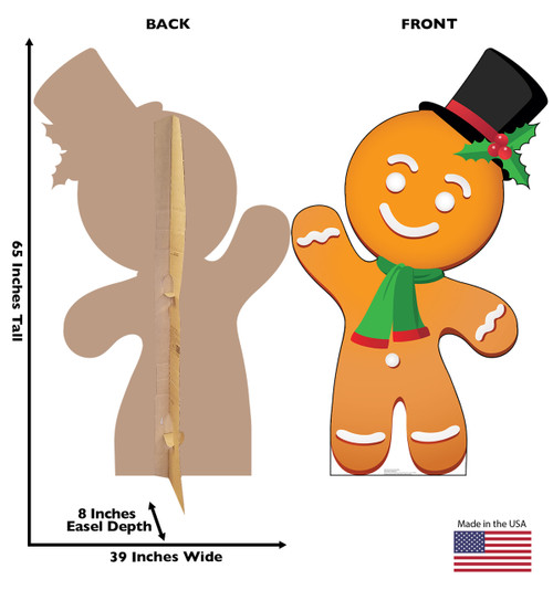 Life-size cardboard standee of Illustrated Gingerbread Man. View of back and front of standee with dimensions.