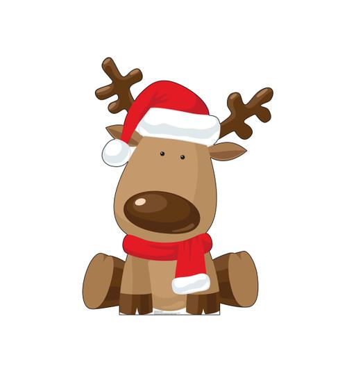 Life-size cardboard standee of Illustrated Reindeer.