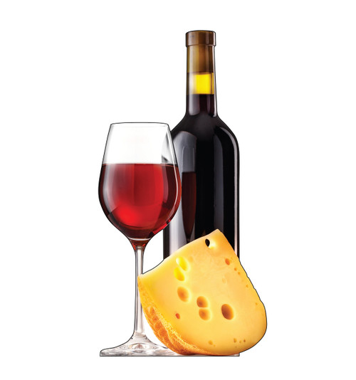 Life-size cardboard standee of Cheese and Wine.