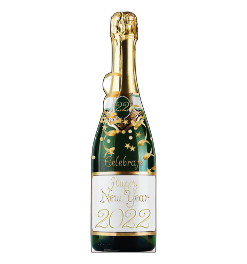 Life-size cardboard standee of a New Years Champagne Bottle. View of back and front of standee.
