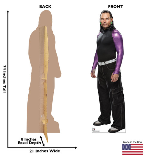 Jeff Hardy WWE Life-size cardboard standee front and back with dimensions.