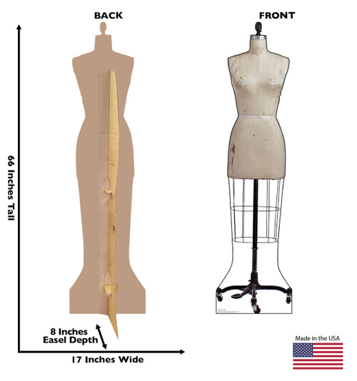 Life-size cardboard standee of an Old Dress Mannequin with back and front dimensions.