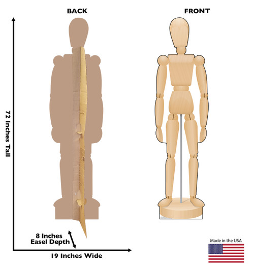 Life-size cardboard standee of a Wooden Mannequin with back and front dimensions.