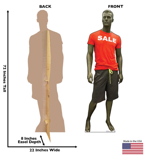 Life-size cardboard standee of a Sale Mannequin with back and front dimensions.