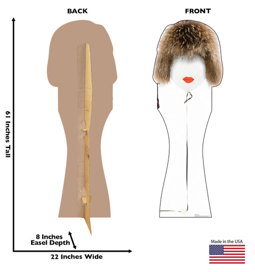 Life-size cardboard standee of a  Mrs Balloon with back and front dimensions.