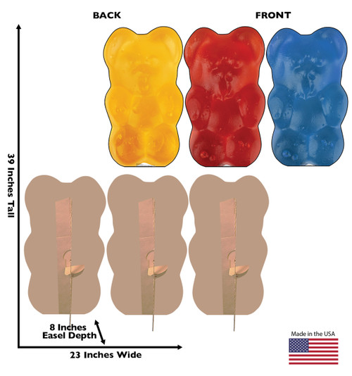 Life-size cardboard standee of Gummy Bears (3 Pack) with back and front dimensions.