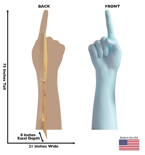 Life-size cardboard standee of a Number 1 Hand with back and front dimensions.