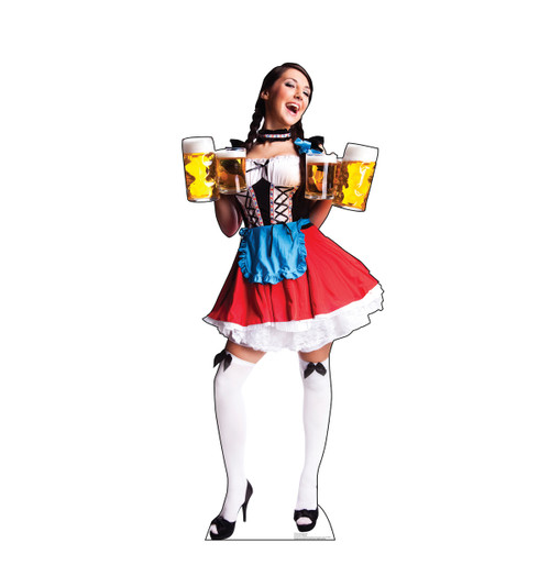 Life-size cardboard standee of a Bar Maiden in Red Skirt.