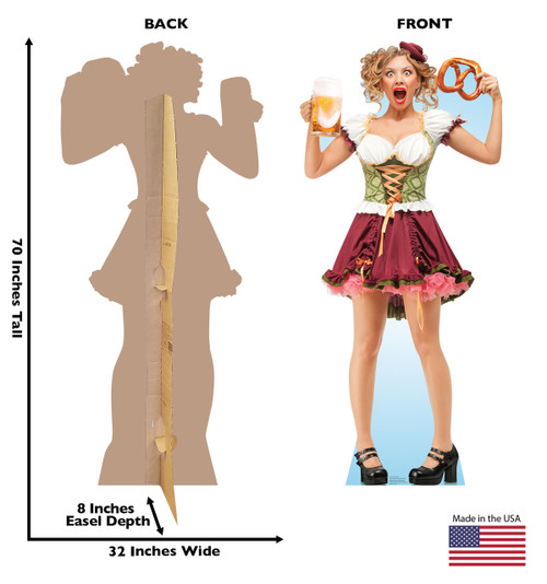 Life-size cardboard standee of a Bar Maiden Pretzel with back and front dimensions.