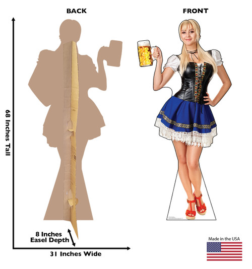 Life-size cardboard standee of a Bar Maiden Blue Skirt with back and front dimensions.