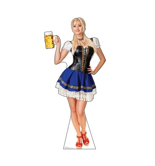 Life-size cardboard standee of a Bar Maiden Blue Skirt.