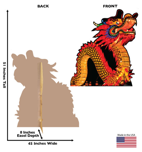 Life-size cardboard standee of a Chinese New Year Night Dragon with back and front dimensions.