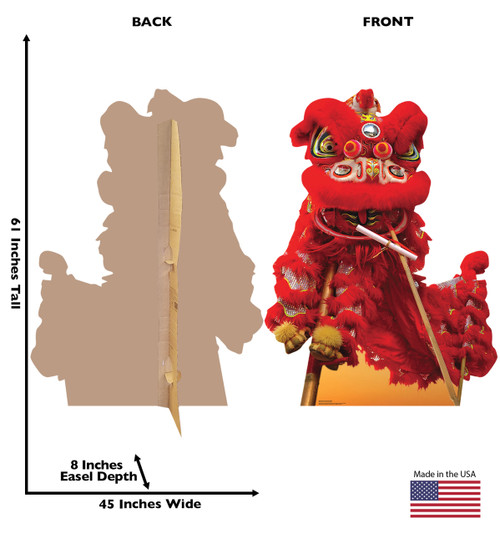 Life-size cardboard standee of a Chinese New Year Red Dragon with back and front dimensions.