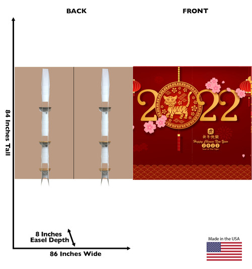 Life-size cardboard standee of a Chinese New Year - Year of the Tiger Backdrop double wide with back and front dimensions.