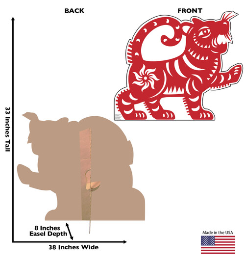 Life-size cardboard standee of a Chinese New Year - Year of the Tiger standee with back and front dimensions.