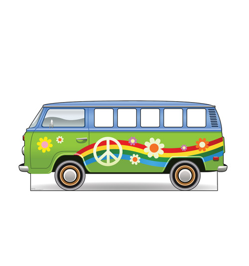Life-size cardboard standin of Hippie Bus.