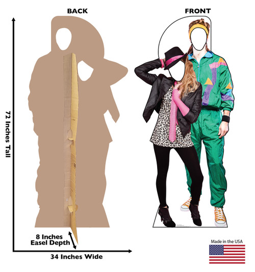 Life-size cardboard standin of 80's Couple with back and front dimensions.
