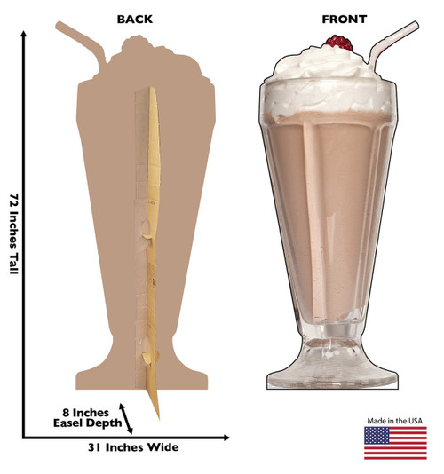 Life-size cardboard standee of a Chocolate Milk Shake with back and front dimensions.