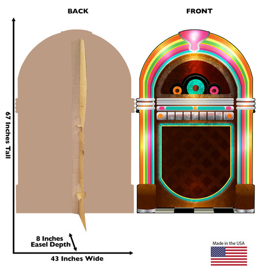 Life-size cardboard standee of 50's Juke Box with back and front dimensions.