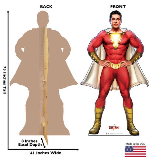 Life-size cardboard standee of the super hero Shazam! with front and back dimensions.