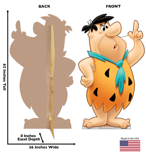 Life-size cardboard standee of Fred Flintstone with front and back dimensions.